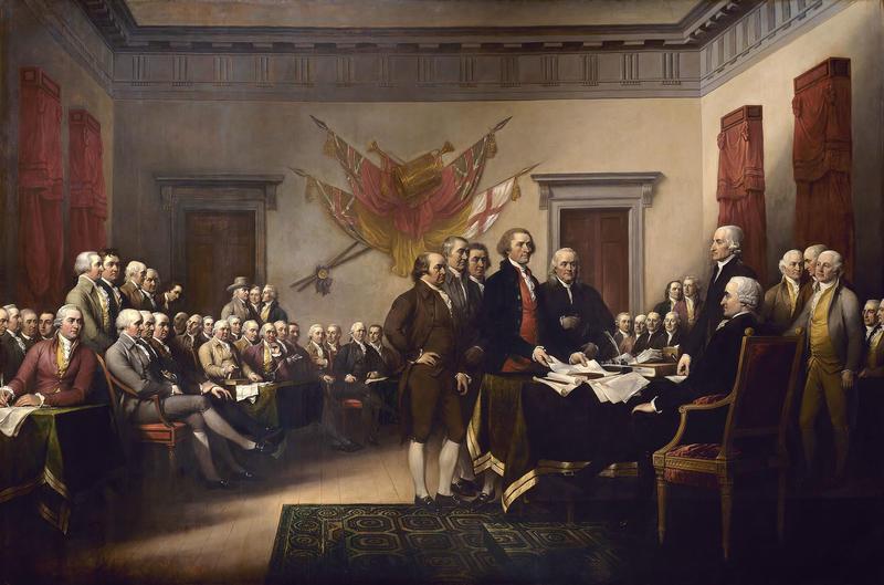 The Declaration of Independence av John Trumbull (1756 – 1843). Malt 1786 – 1820. Versjonen eid av Yale University Art Gallery. En forstørret versjon henger i US Capitol.