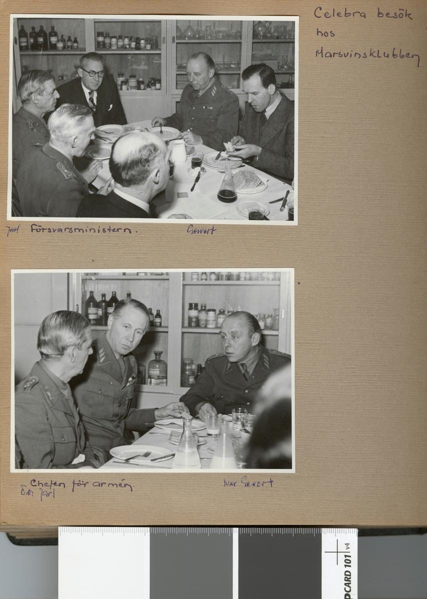 "Text i fotoalbum: ""Celebra besök hos Marsvinsklubben. Jarl, försvarsministern, Gewert""."