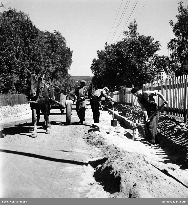 Vägarbetare sätter kantsten utmed Rosenborgsgatan på Östermalm med hjälp av hästdragen vagn, skyfflar, korpar och stensättarjungfru.