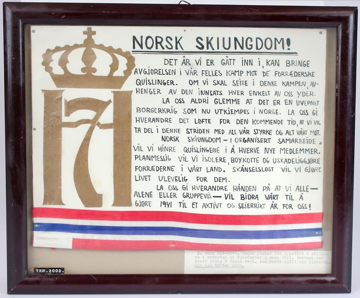 Innrammet hjemmerlaget plakat, med H7 i gull og kantet nederst med bånd i de norske fargene.