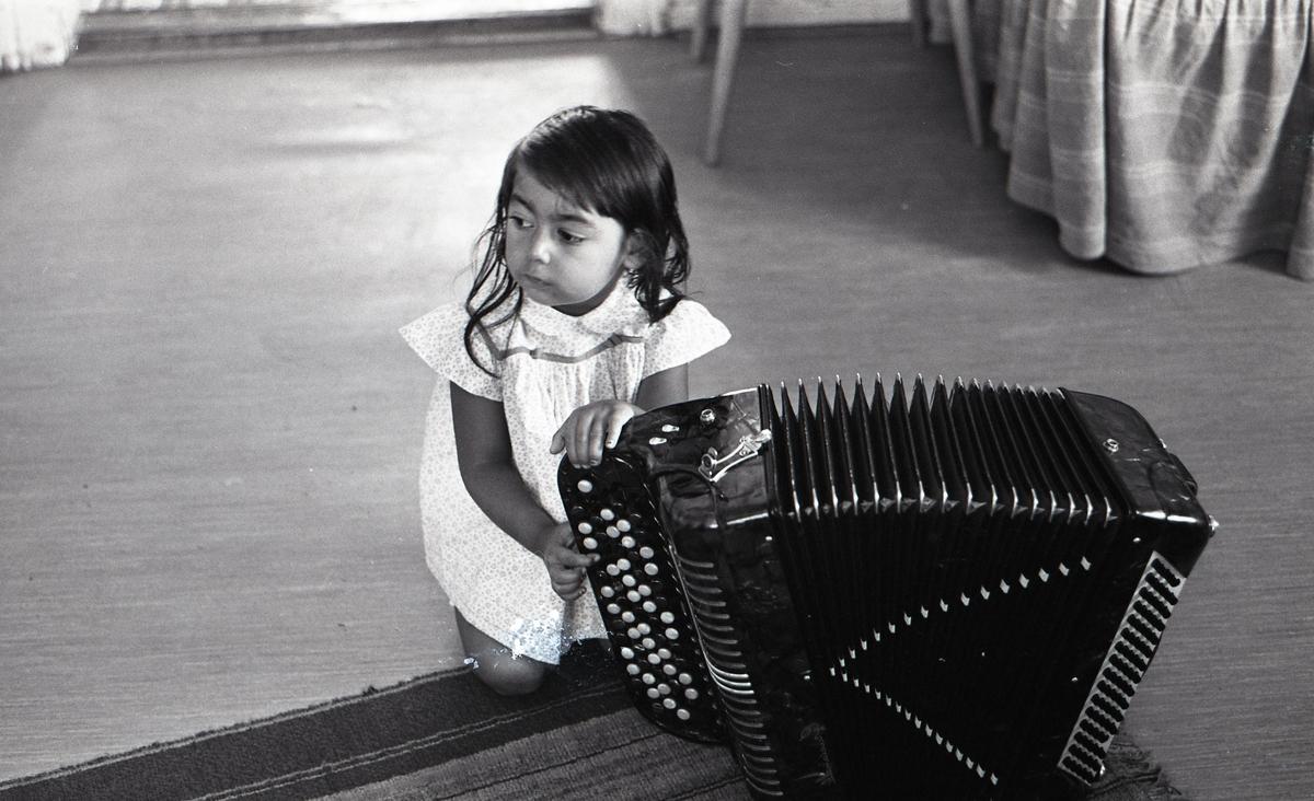 En liten flicka sitter på golvet intill ett dragspel. Bilden är tagen i samband med ett nyhetsreportage för Skånska Dagbladet. Att vara musikant har historiskt varit ett vanligt yrke bland romer i Sverige. Musicerandet har ofta kombinerats med tivoliverksamhet, teater eller lustspel av olika slag. Dessa verksamheter mötte en kraftig nedgång i och med tevens genomslag under 1950- och 1960-talen. Romsk musik är dock i högsta grad levande i Sverige än idag.