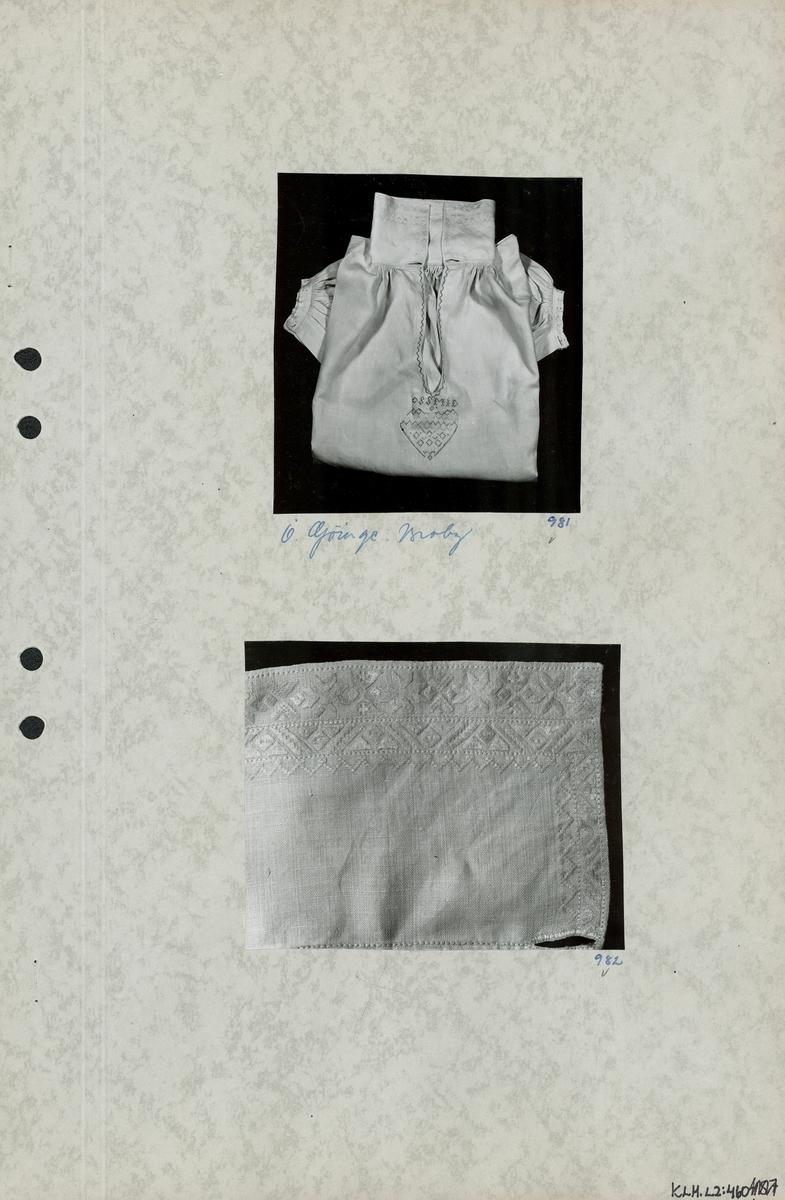 Kartongark med två foton av skjorta.