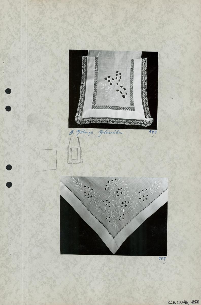 Kartongark nr 1: Två foton av klut. Kartongark nr 2: Tre foton av opplödd.