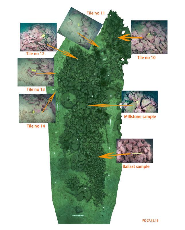 Bilde av skipsvrak med last på sjøbunnen. Flere forstørrede utsnitt fra bildet viser ballaststeiner, kvernstein og flis, hvorfra prøver ble tatt ut.