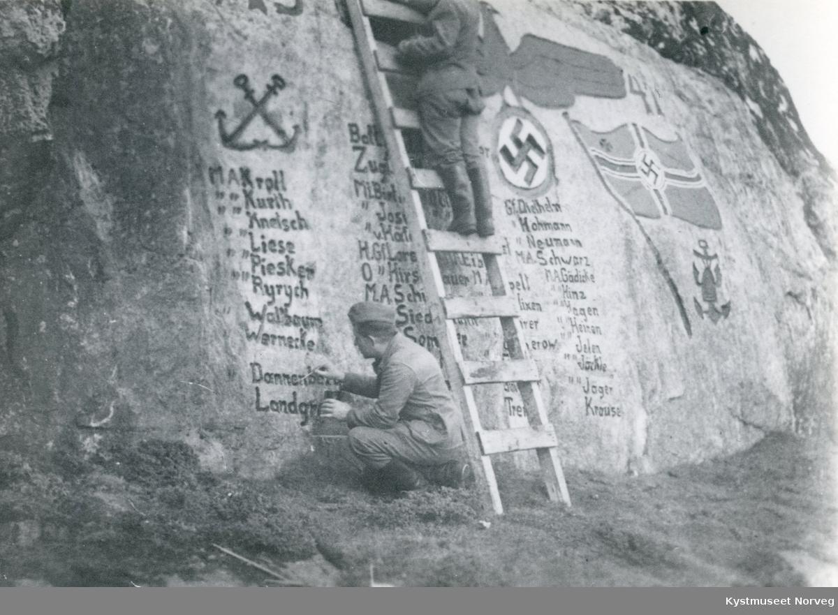 Tysk minnestein på Strømsøya ved Rørvik
