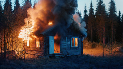 RAGNAR KJARTANSSON, Scenes From Western Culture, Burning House, 2015. Single-channel video with sound. 01:32 minutes. Edition of 6 plus 2 artist's proofs. Courtesy of the artist, Luhring Augustine, New York and i8 Gallery, Reykjavik.