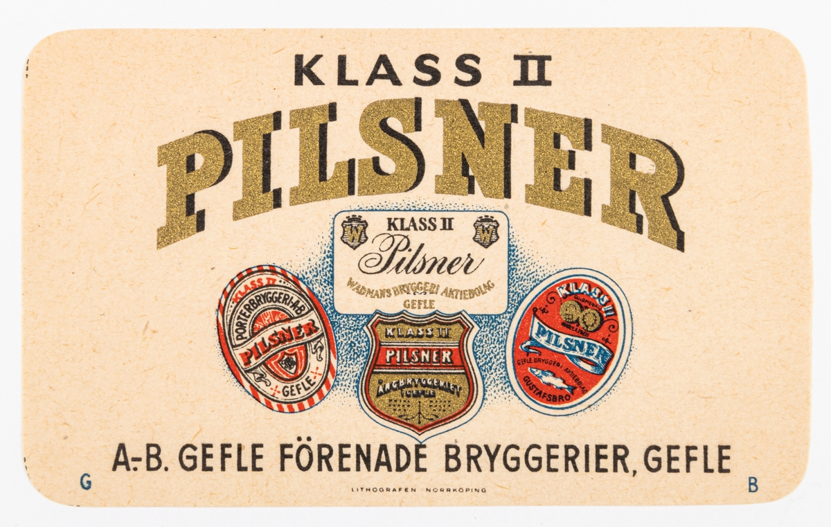Pilsner Klass II, Gefle förenade bryggerier Gefle. De förenade bryggeriernas gamla etiketter under texten. Del av samling bryggerietiketter av papper, från olika bryggerier i Gävle.