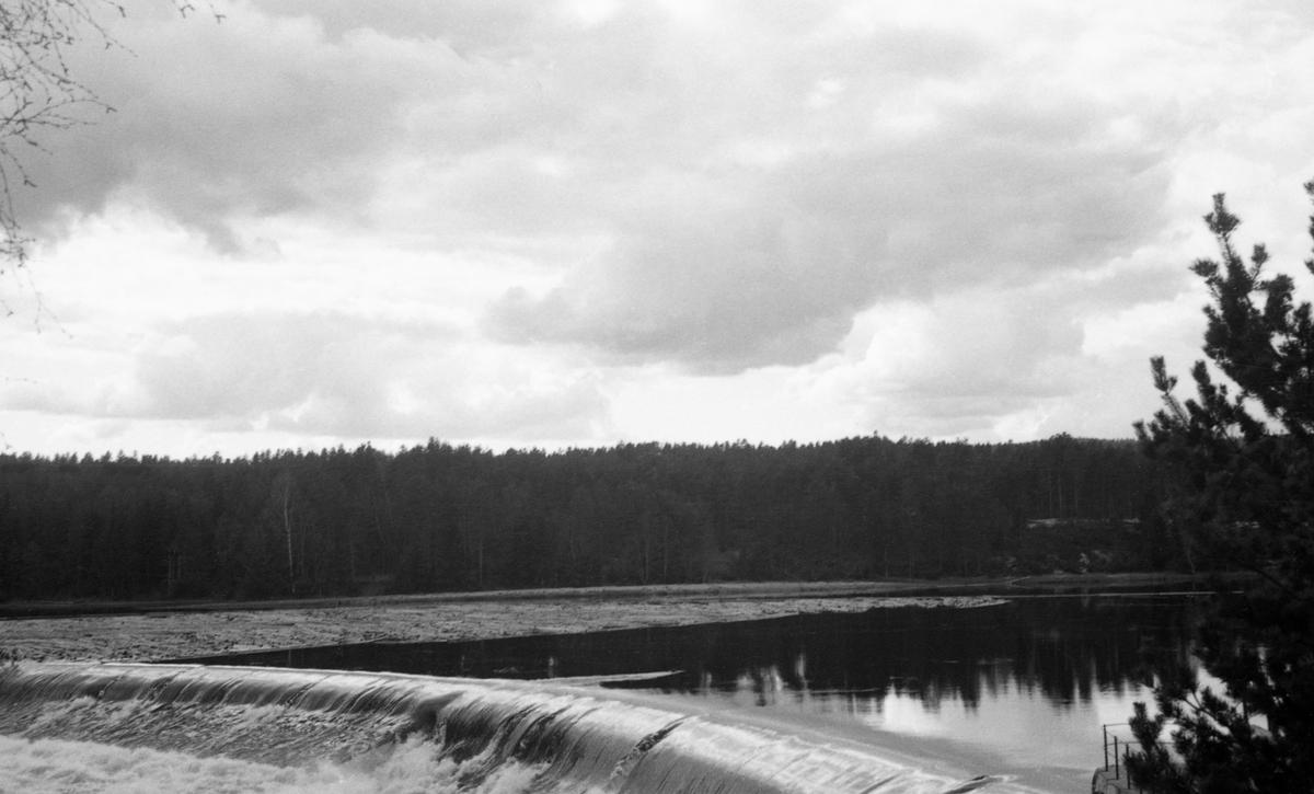 Terskeldam. Tømmer ovenfor dammen.