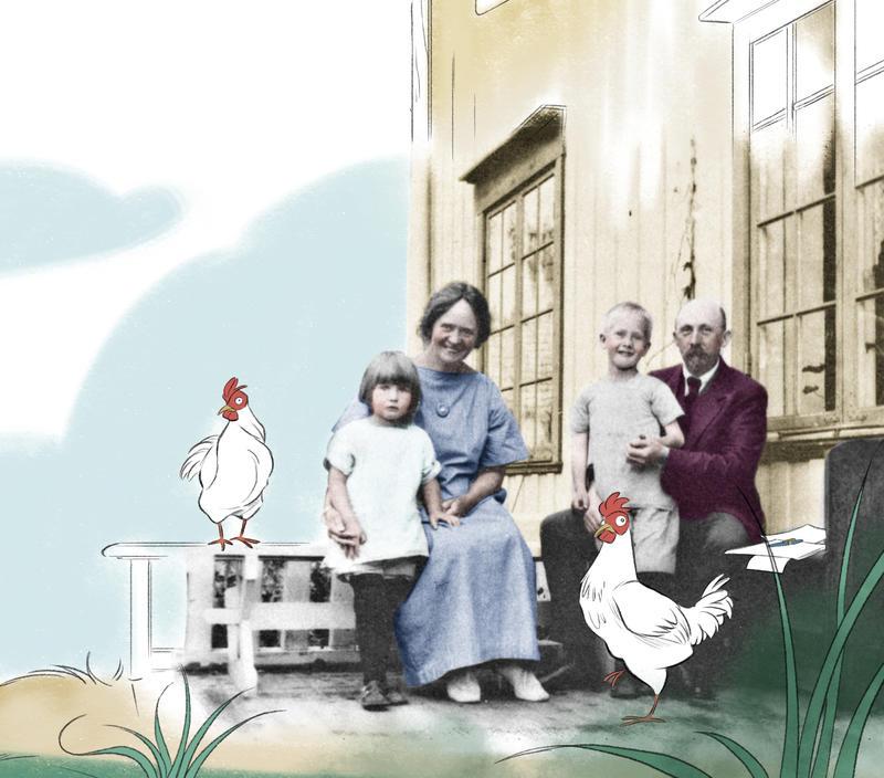 Anne-Cath. Vestly som liten jente og familien hennes. Her er de utenfor huset der hun ble født. Hans Jørgen Sandnes/Sandnes Media. (Foto/Photo)