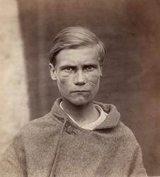 """""""Finska folktyper"""". Ung man med ärr på vänster kind, Tavastl"""