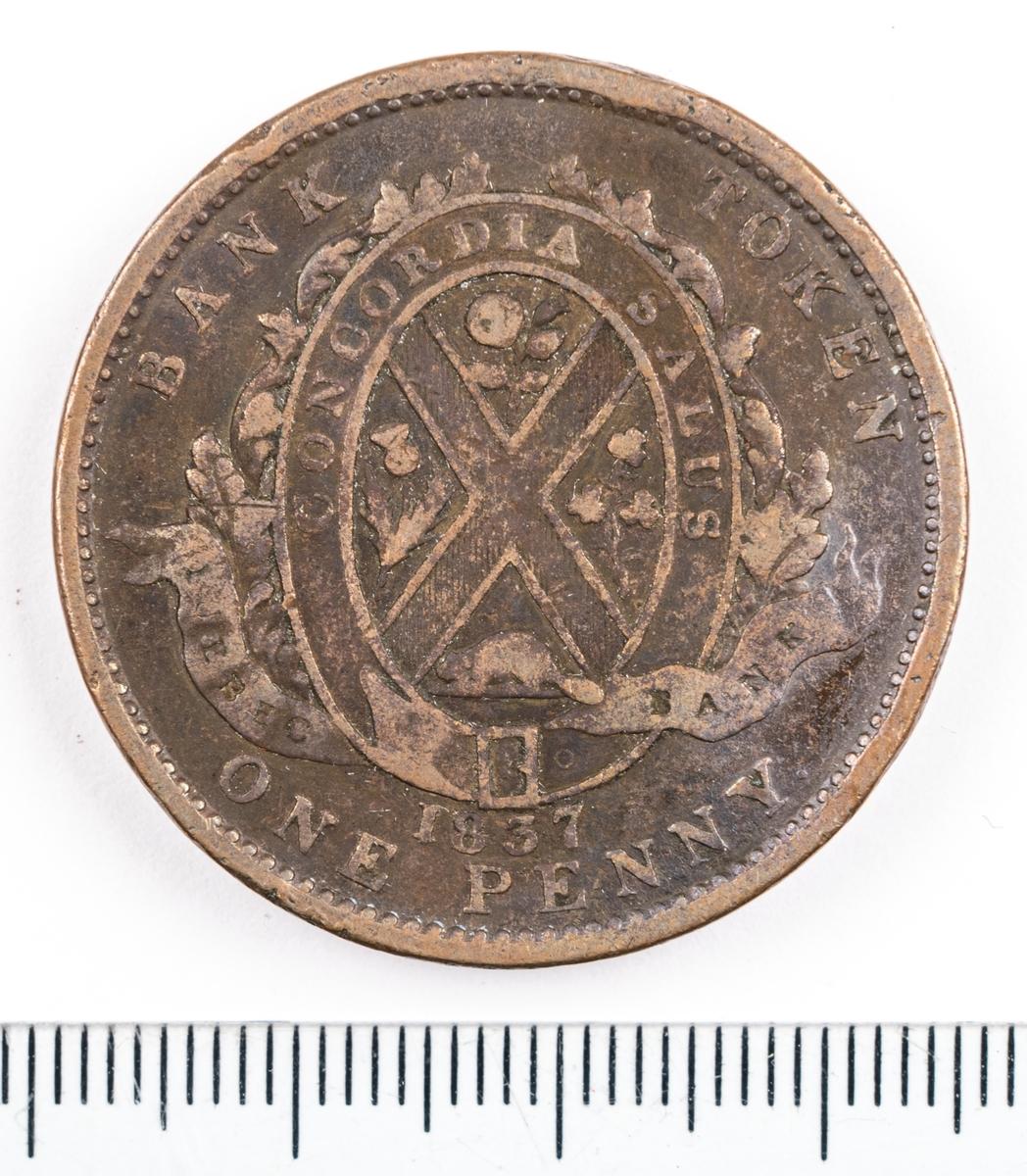 Mynt, Canada, 1833, 2 Sous.
