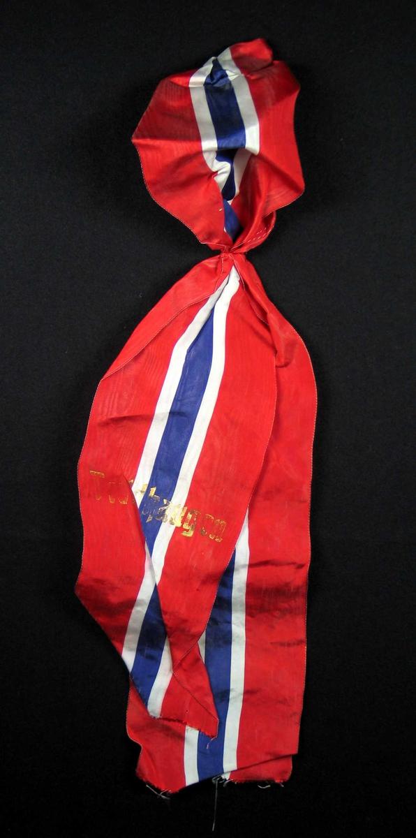 Sløyfe i norske nasjonalfarger med tekst i gull. Ukjent materiale.