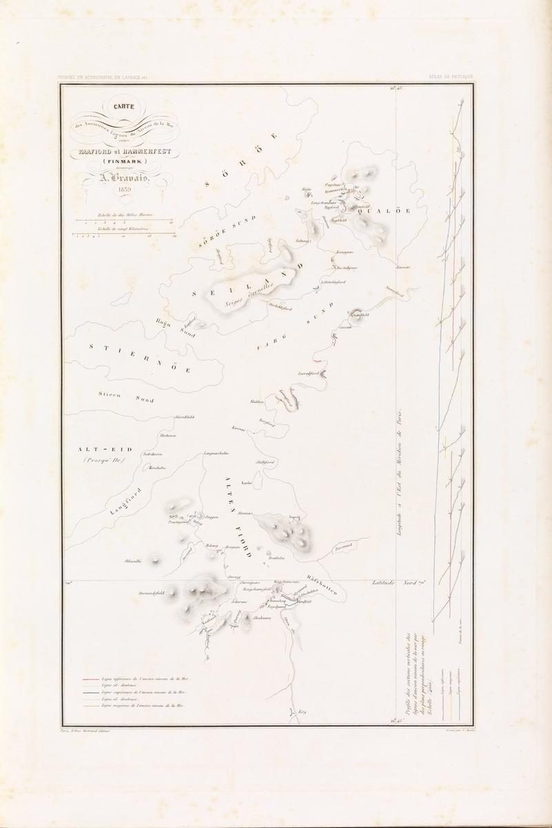 Carte des anciennes lignes du niveau de la mer entre Kaafiord et Hammerfest en Finmark [Grafikk]