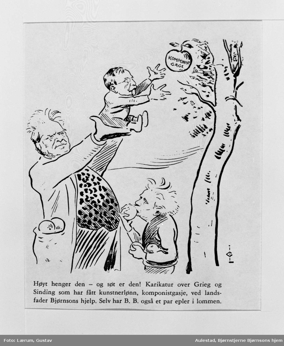 Karikatur, Bjørnson, Grieg, Sinding, kunstnerlønn,