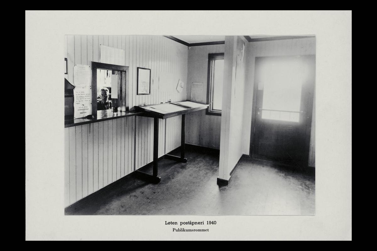 interiør, poståpneri, 2340 Løten, publikumshall, ekspeditør