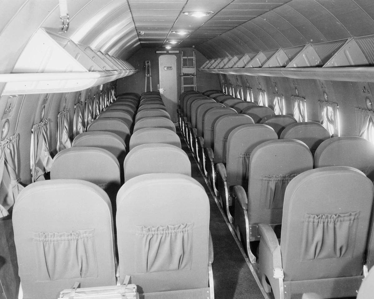 transport, fly, interiør, D.N.L.'s Skymaster Douglas DC-4, Oslo-New York