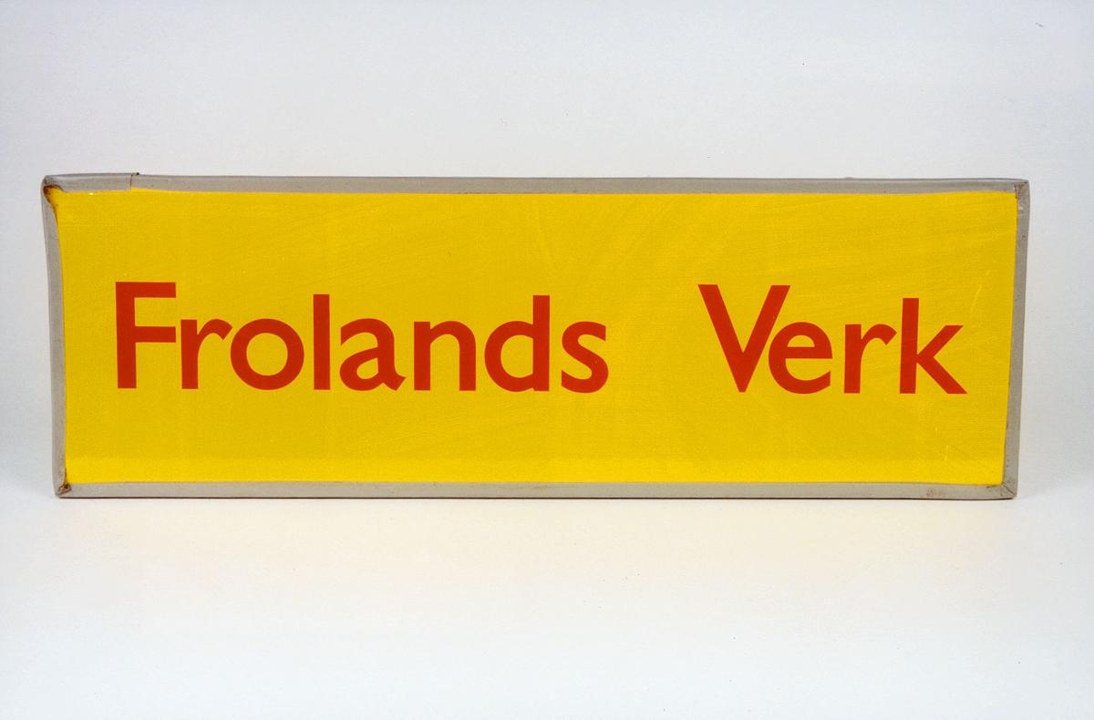 Postmuseet, gjenstander, skilt, stedskilt, stedsnavn, Frolands Verk.