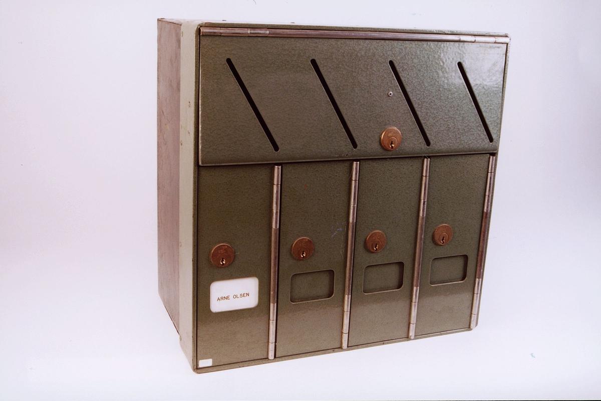 postmuseet, gjenstander, postkasse, postkasseanlegg, brevkasseanlegg