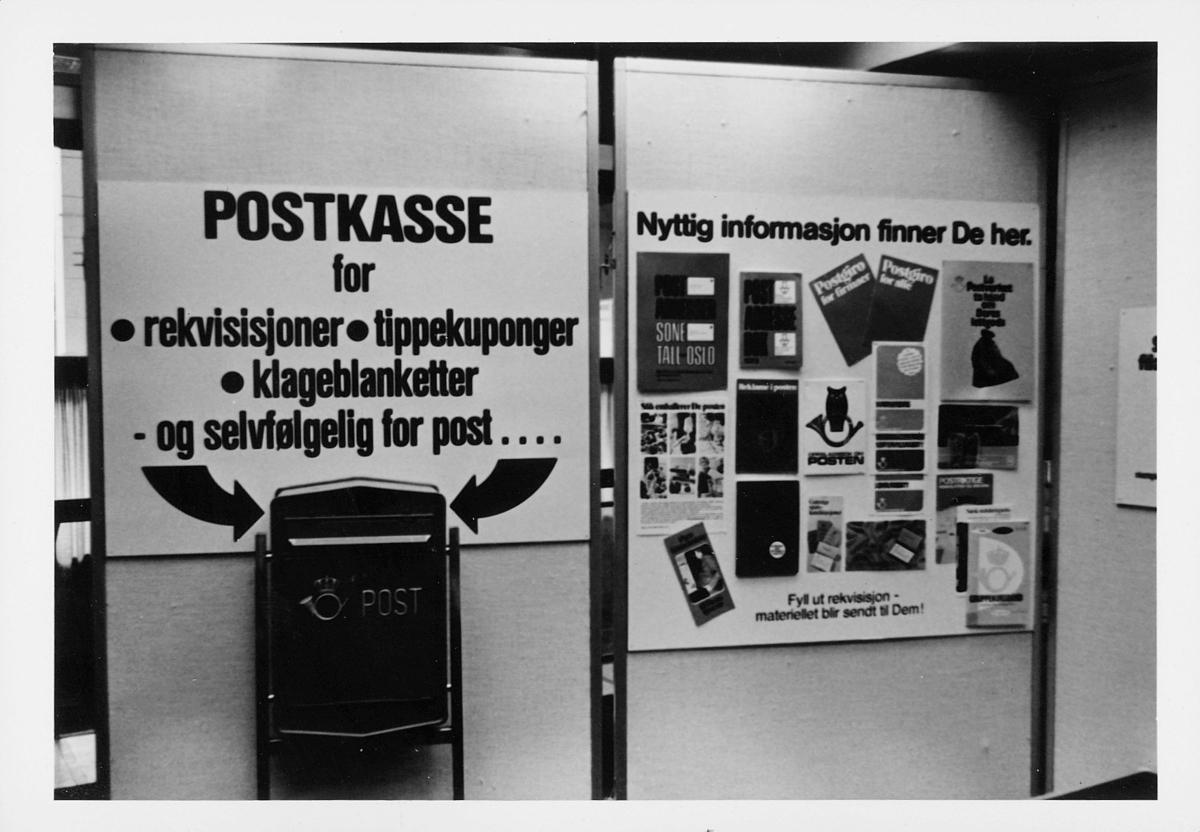 markedsseksjonen, Oslo postgård 50 år, utstilling, offentlig postkasse, informasjon