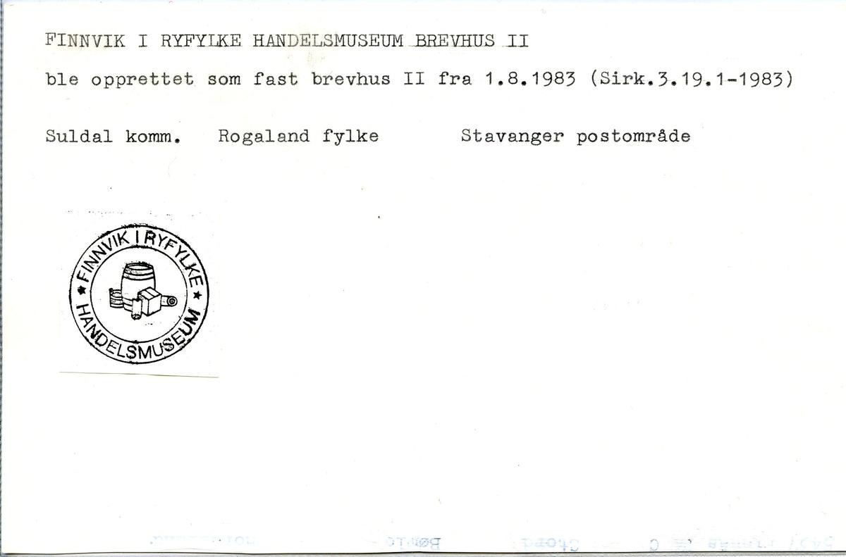 Stempelkatalog, 4197 Finnvik, Stavanger, Suldal, Rogaland