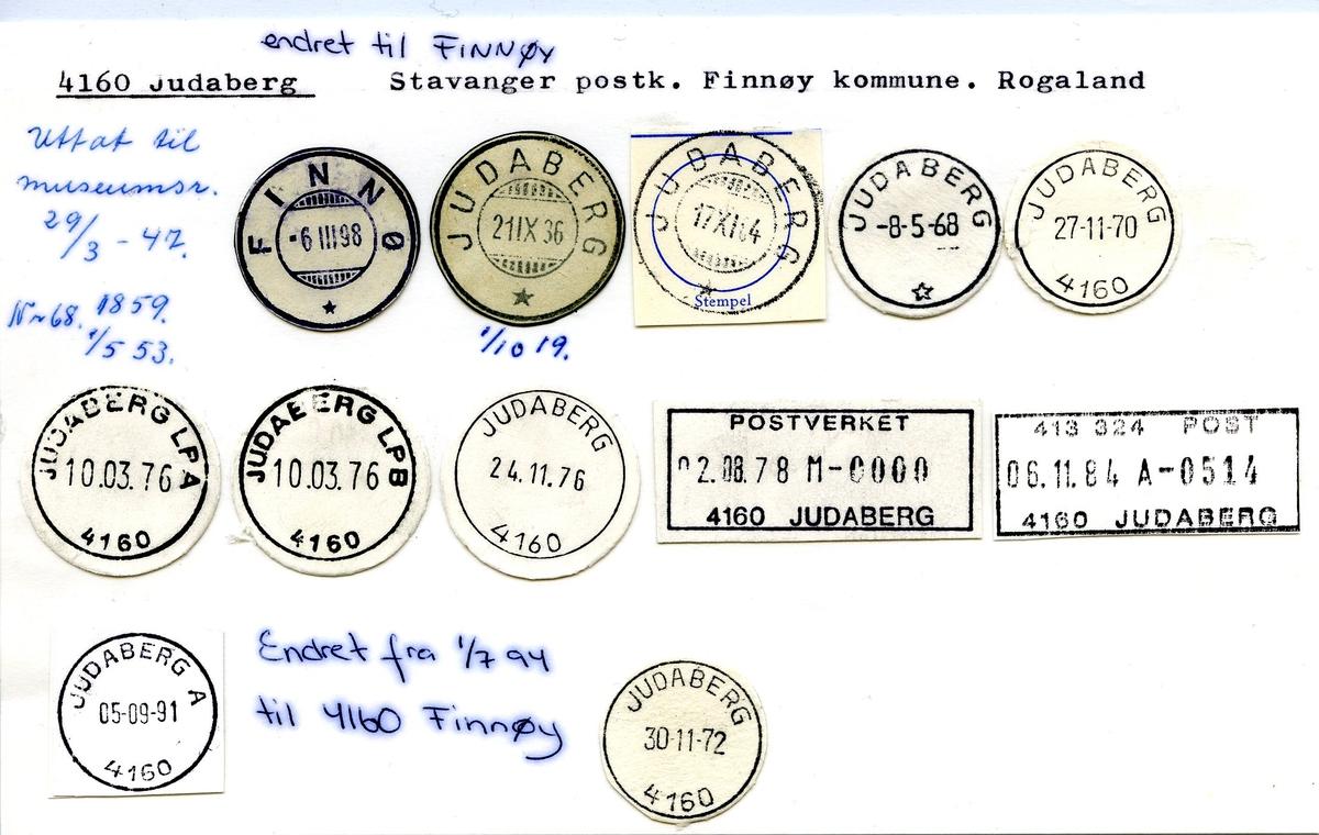 Stempelkatalog, 4160 Judaberg - 4160 Finnøy, Stavanger postkontor, Finnøy kommune, Rogaland fylke. Navnendreing fra 01.07.1994.