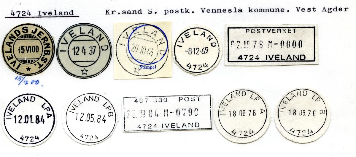 Stempelkatalog. 4724 Iveland, Kristiansand postkontor, Vennesla kommune, Vest Agder