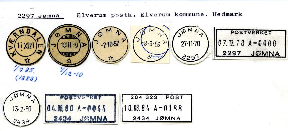 Stempelkatalog. 2297 Jømna, Elverum, Elverum kommune, Hedmark