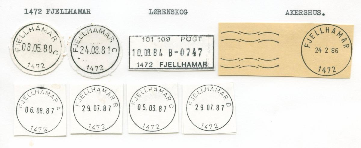 Stempelkatalog, 1472 Fjellhamar, Lørenskog, Akershus