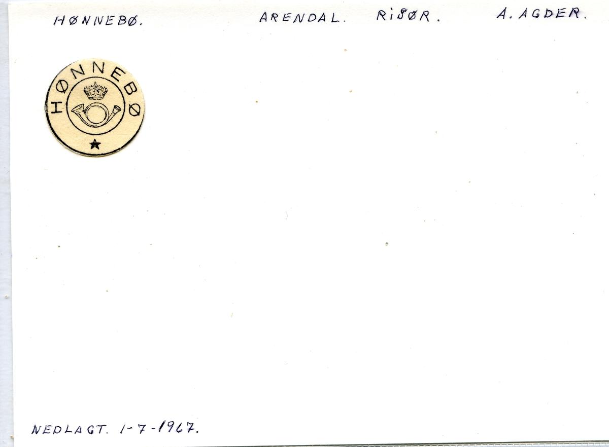 Stempelkatalog, Hønnebø, Arendal postkontor, Risør kommune, Aut-Agder fylke.