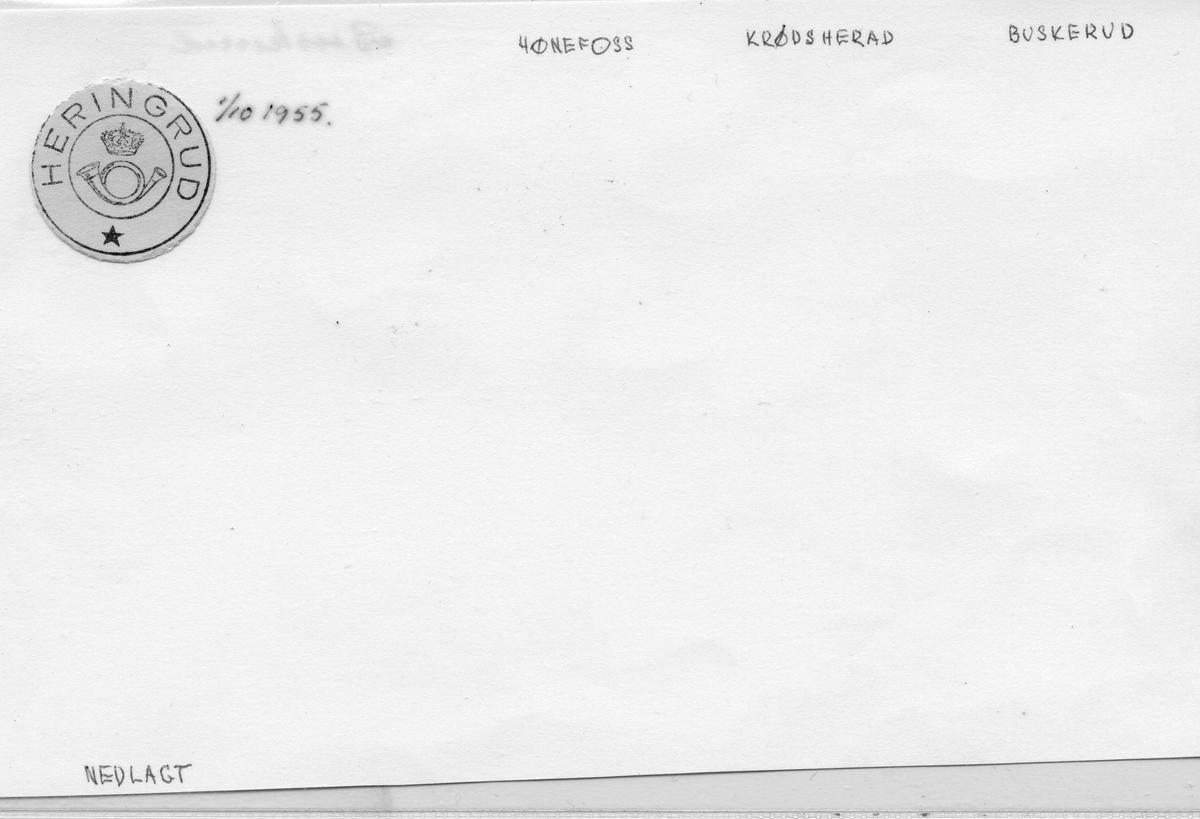 Stempelkatalog. Heringrud. Hønefoss postkontor. Krødsherad kommune. Buskerud fylke.
