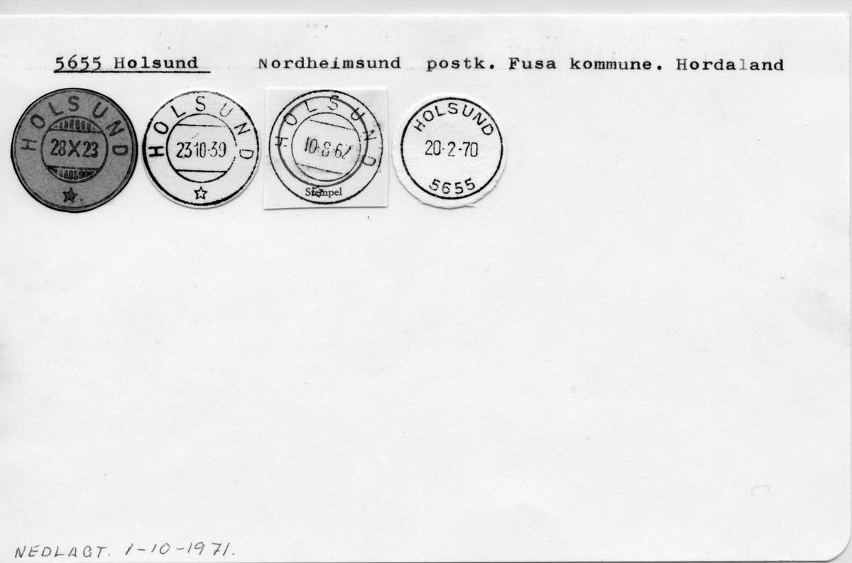 Stempelkatalog. 5655 Holsund. Norheimsund postkontor. Fusa kommune. Hordaland fylke.