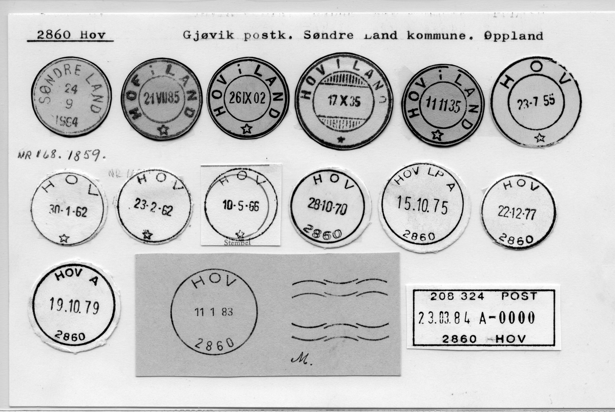 Stempelkatalog 2860 Hov (Søndre Land, Hof i Land, Hov i Land), Gjøvik, Søndre Land, Oppland