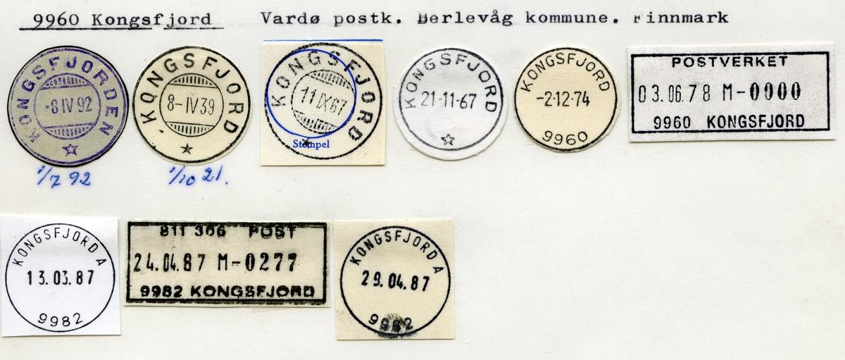 Stempelkatalog 9960 Kongsfjord (Kongsfjiorden), Vardø, Berlevåg, Finnmark
