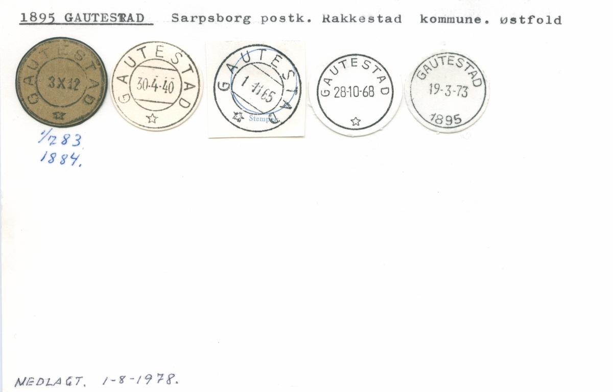 Stempelkatalog 1895 Gautestad, Sarpsborg, Rakkestad, Østfold