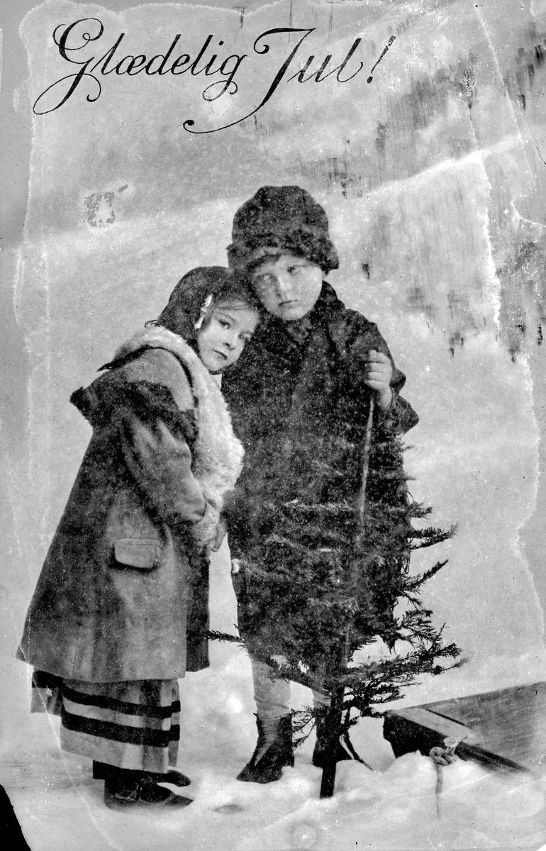 Postkort, julekort, to småjenter med juletre