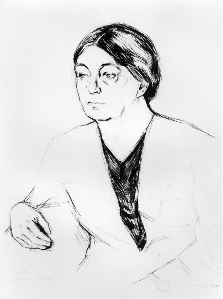 Tegning, kvinne, portrett