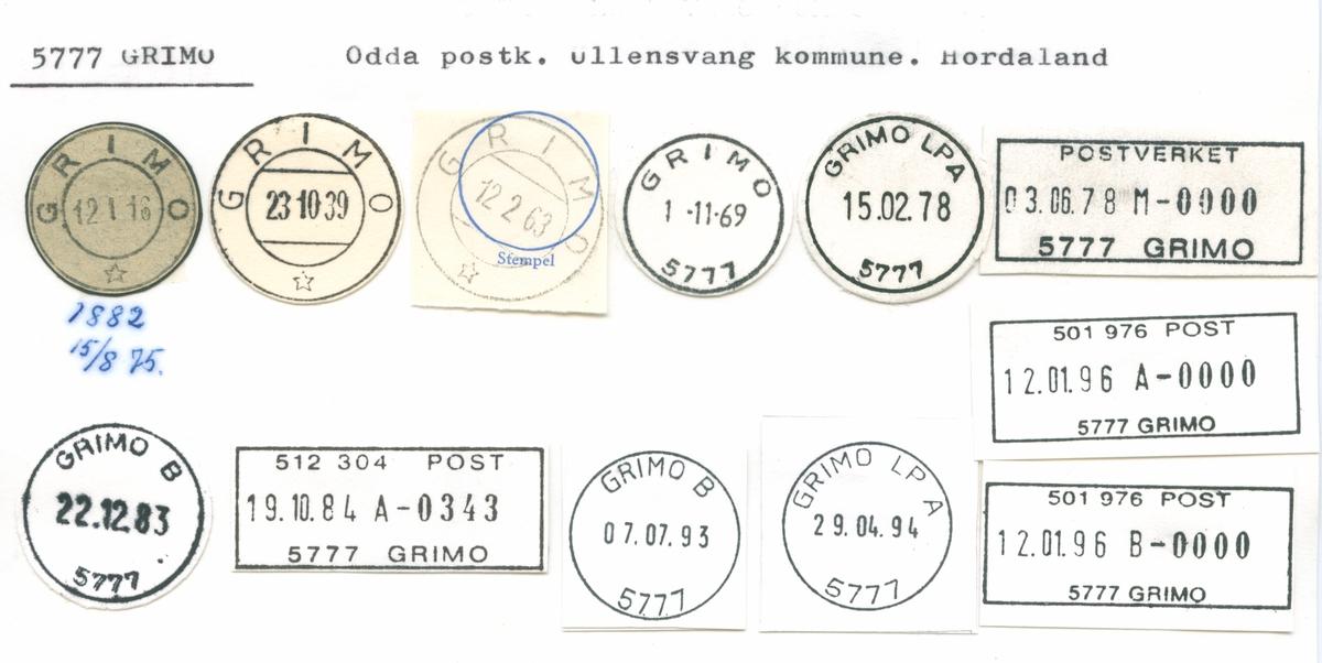Stempelkatalog 5777 Grimo, Odda, Ullensvang, Hordaland