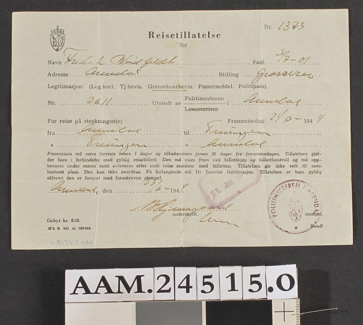 Reisetillatelse fra Arendal til Treungen , F. Windfelt 24/6 1944.