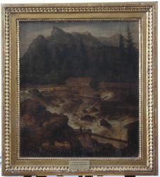 Oljemaleri, innrammet, norsk landskap
