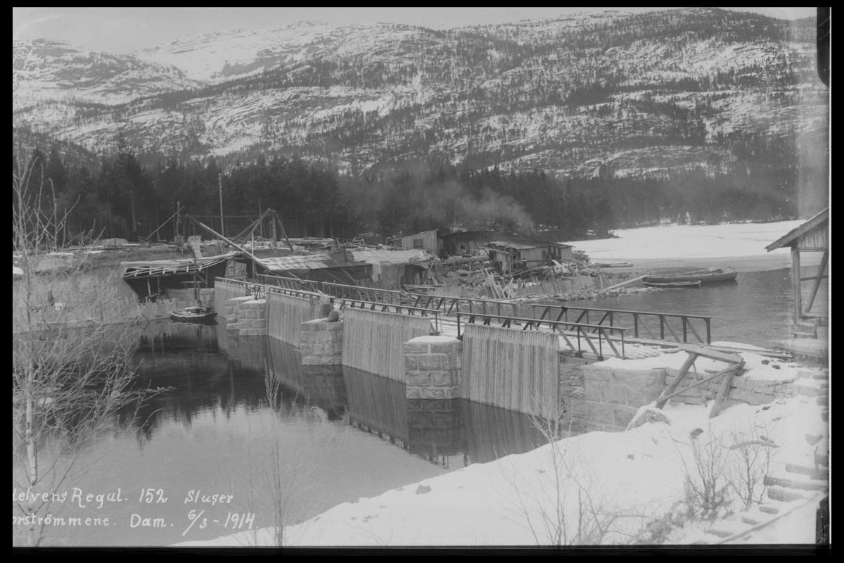 Arendal Fossekompani i begynnelsen av 1900-tallet CD merket 0446, Bilde: 74 Sted: ? Beskrivelse: Sluser. Tømmerrenne inntak