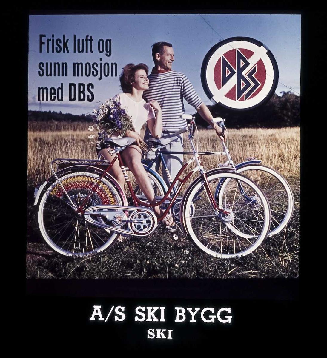 Kinoreklame fra Ski. Frisk luft og sunn mosjon med DBS (sykkel). A.S Ski Bygg