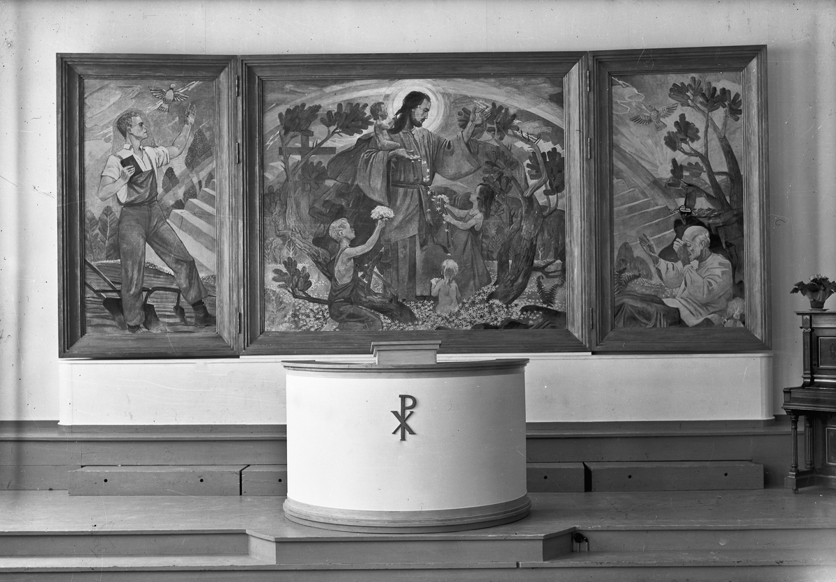 Avbildet maleri med religiøst motiv. Bjerkely.