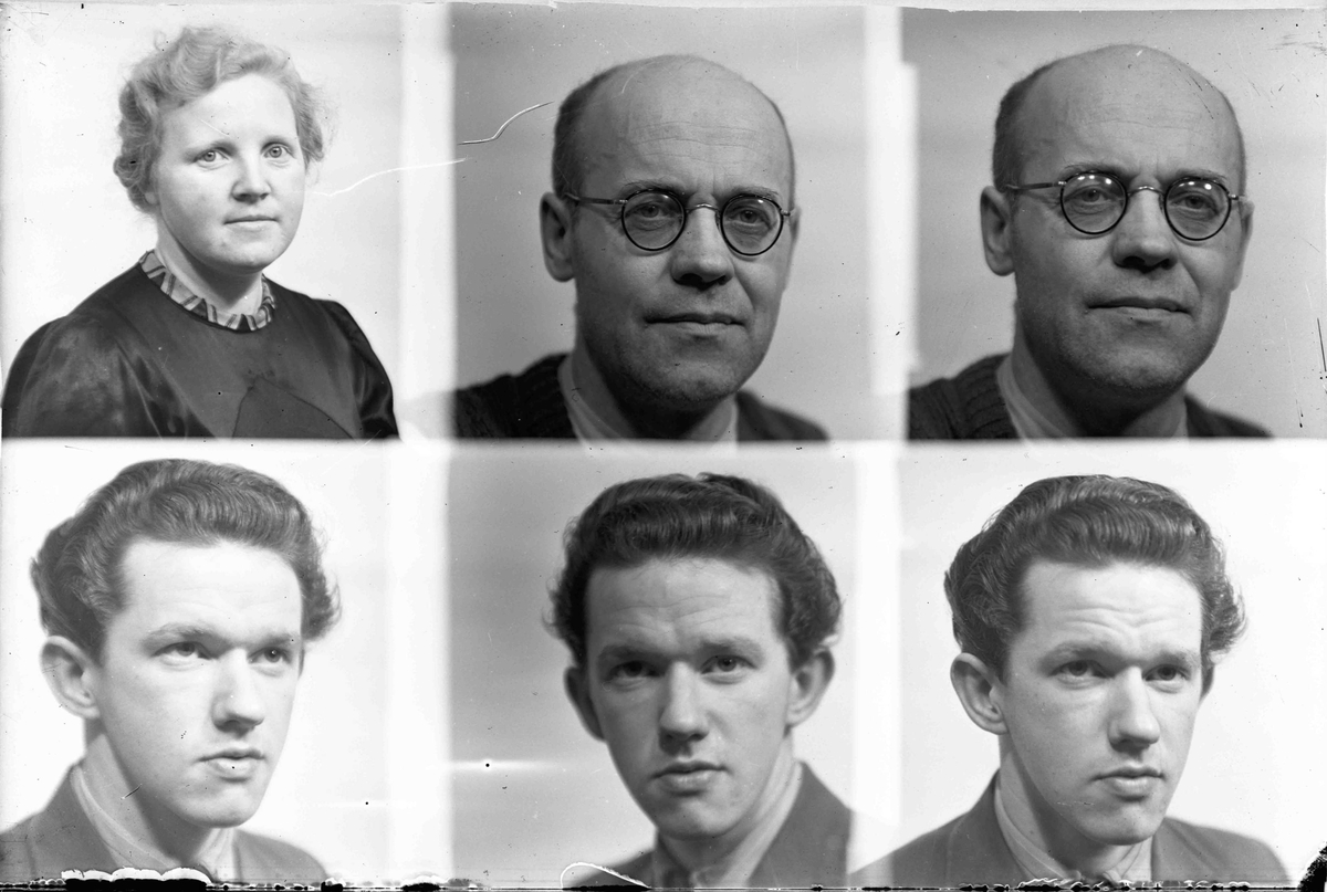 3 portretter. Johan Granly med briller.