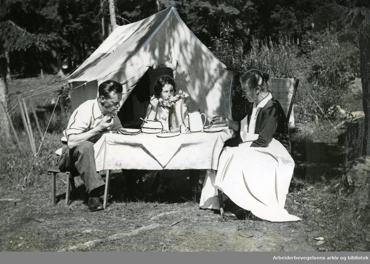 Ferieliv på Langåra i Oslofjorden,.juli 1935