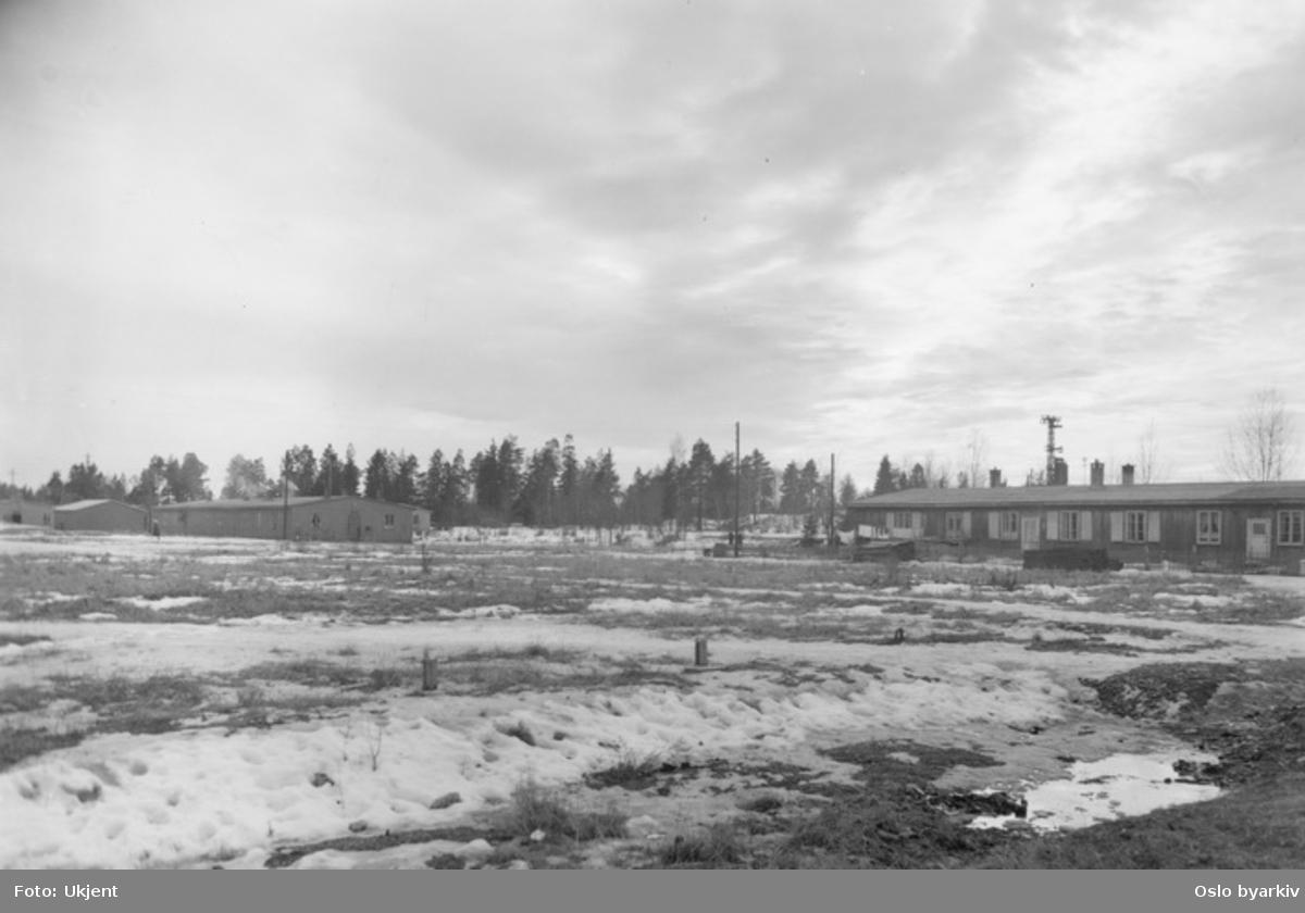 """Enetasjes tømmerbygning opprinnelig offisersbrakke oppført 1940 for tyskerne, nå barnhage. Resten av brakkeleiren til venstre, tidligere """"Lager Nordstrand"""", leir for tyske soldater under andre verdenskrig."""