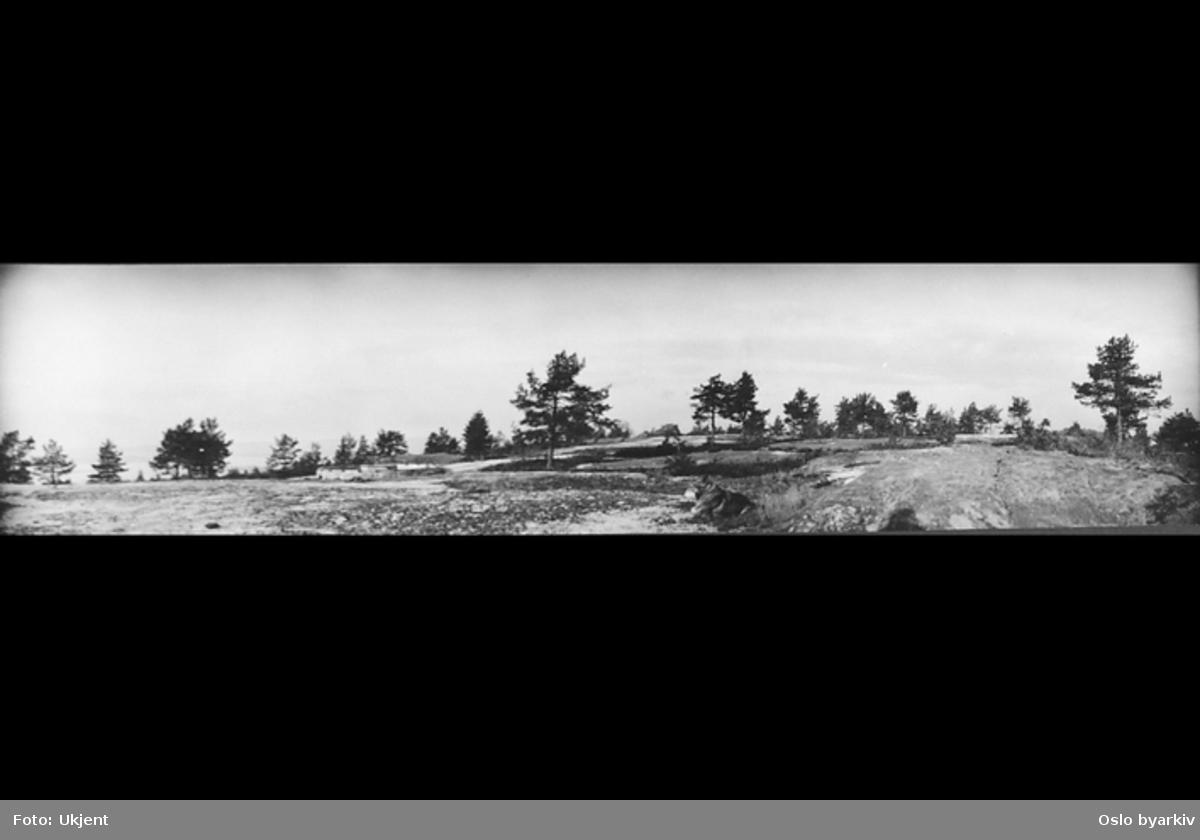 Fundament etter luftevern artilleristilling, fra første verdenskrig. Ikke tatt i bruk. Tre fundamenter - ringer.