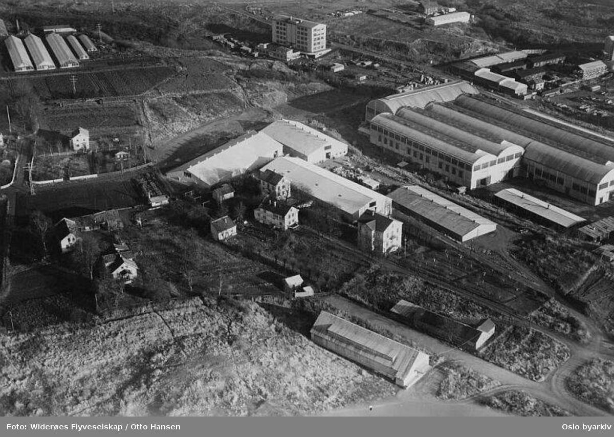 Tiedemanns Tobaksfabrik (tobakksfabrikk) i Johan H. Andresens vei 5 på Hovin. Gartneri? oppe til venstre. (Flyfoto)