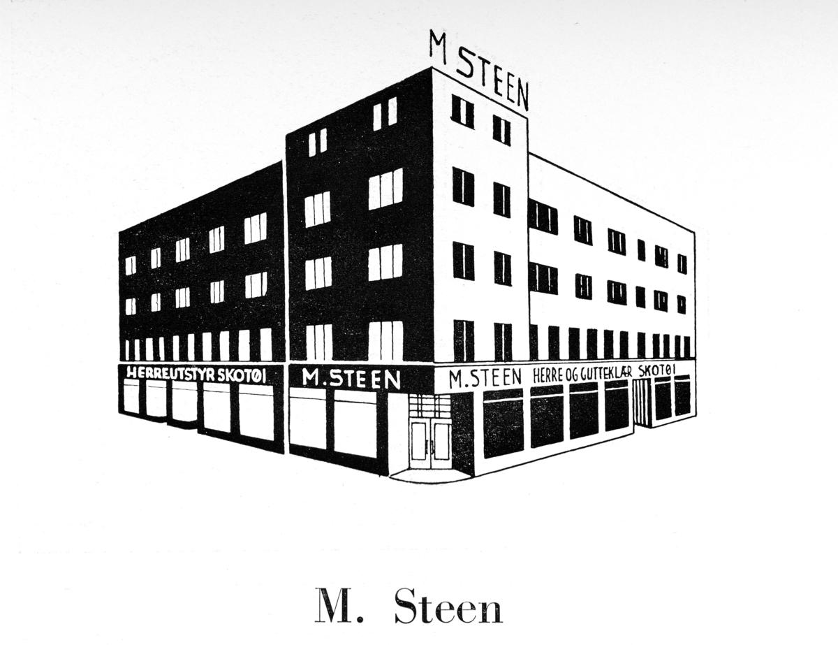 Gammel reklameplakat fra M. Steen på Østre Torg i Hamar.