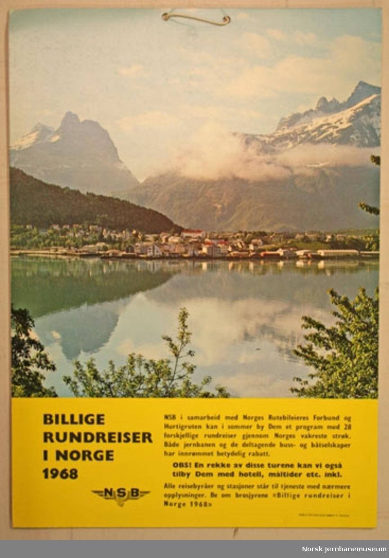 Reklameplakat : Billige rundreiser i Norge 1968