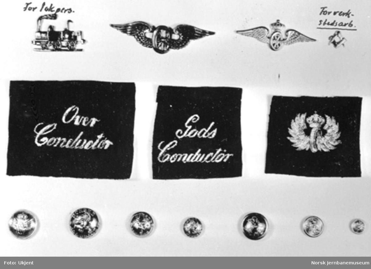 Luemerker, knapper og jakkemerker for lokomotivpersonale, konduktører og verkstedarbeidere